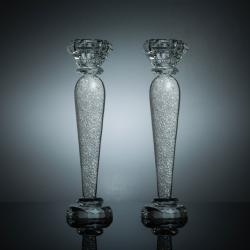 "Premium 9"" Crystal Candlestick (2-Piece Set) Large, Radiant Gems Inside Stem | Contemporary Elegance & Style | Modern Kitchen, Dining, or Living Room Use"