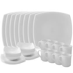 Matashi 32-Piece Opal Glassware Dinner Set - Break Resistant - Freeze Resistant- Dishwasher Safe – Service for 8 - (Platinum Collection, White Rim)