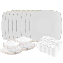 Matashi 32-Piece Opal Glassware Dinner Set - Break Resistant - Freeze Resistant- Dishwasher Safe – Service for 8 - (Platinum Collection, Gold Rim)
