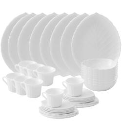 Matashi 40-Piece Opal Glassware Dinner Set - Break Resistant - Freeze Resistant- Dishwasher Safe – Service for 8 - (Vine Collection, White)