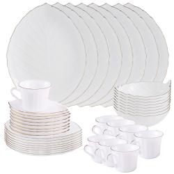 Matashi 40-Piece Opal Glassware Dinner Set - Break Resistant - Freeze Resistant- Dishwasher Safe – Service for 8 - (Vine Collection, Gold Rim)